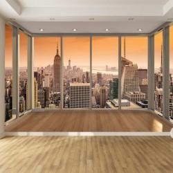 Photo murals Window golden view New York orange