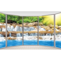 3d Wallpapers French window view sunny waterfall