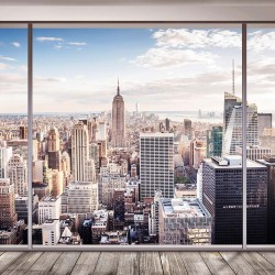 Photo mural imitation walls with window view Manhattan