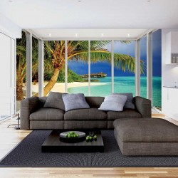 Photo mural sea landscape with palm trees French window bright