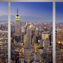 Photo mural French window with New York