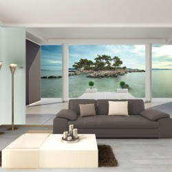 Photo mural beautiful view of the room on a deserted island