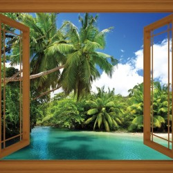 Wallpapers view with palms and river with window - 3 colours