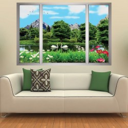 Photo mural 3d effect window overlooking a lake and swans