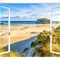 Photo mural a white window with landscaped dunes and a beach