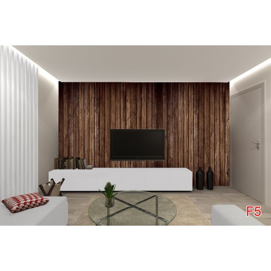 Photo mural  brown tree with stacked beams in 2 colours