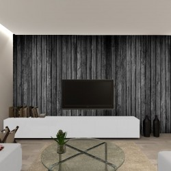 Photo mural black tree with stacked beams