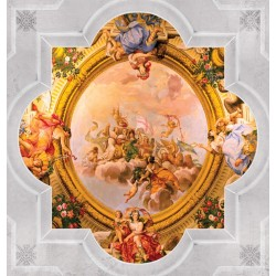 Mural classical frame with ornaments fresco ceiling