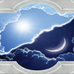 Wallpaper classic frame viwe of night and day sky