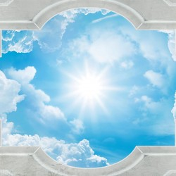 Wallpaper classic frame ceiling with sky and sun
