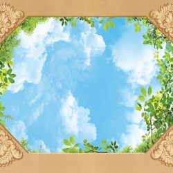 Wallpaper for ceiling with sky and green leaves