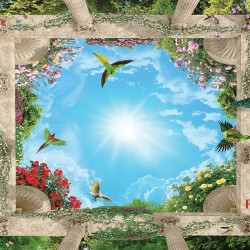 3D effect wallpaper ceiling with sky with columns and flowers