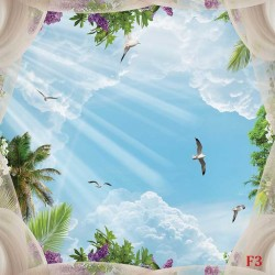 Wallpaper Mural ceiling with 3d effect sky with veils and pigeons