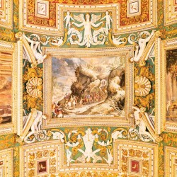Photo wallpaper painted ceiling old fresco with relief statues