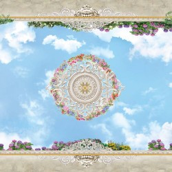 Photo Wallpaper ceiling with 3d effect sky and ornaments
