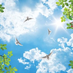 Photo wallpaper sky with pigeons and spring color decoration