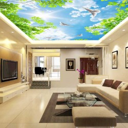 Photo wallpaper for sky ceiling and green twigs