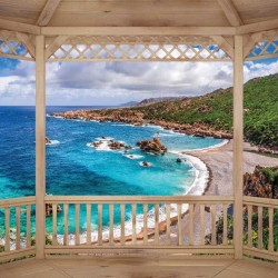 Photo mural beautiful sea woоd bay terrace view