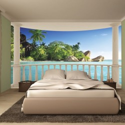 Wall murals seascape with palms from terrace ellipse