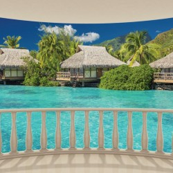 Wall murals view of Bora Bora from terrace ellipse