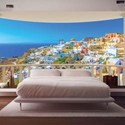 Wall murals view of Santorini from terrace ellipse