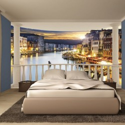 Wall murals night view of Venice from terrace ellipse