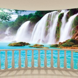 Wall murals view of waterfall from terrace ellipse