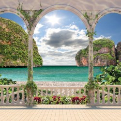 Photo mural terrace with  flowers lagoon sea view