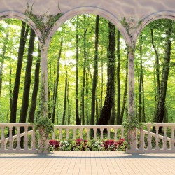 Photo mural terrace with  flowers green forest