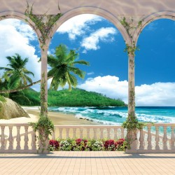 Photo mural terrace with  flowers palms and beach