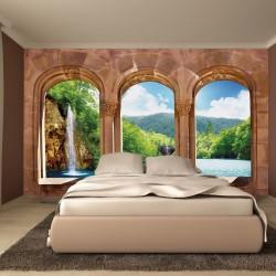 Wallpapers mural waterfall views across antique columns