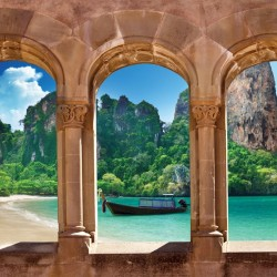 Wallpapers mural sea views across antique columns