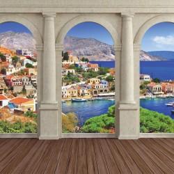 Wallpapers mural view through columns Mediterranean landscape