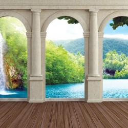 Wallpapers mural terrace view trough columns of tropical waterfall