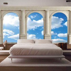 Wallpapers mural view through columns of  sky and clouds