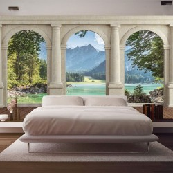 Wallpapers mural view through columns of a mountain river
