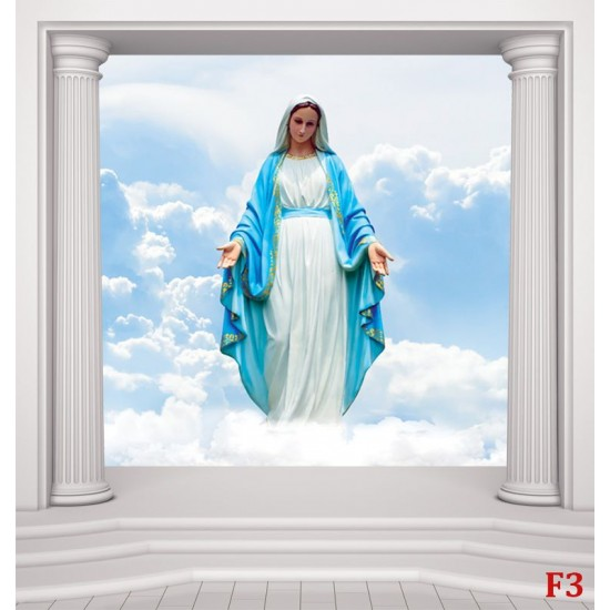 Wall mural statue of Mary in columns