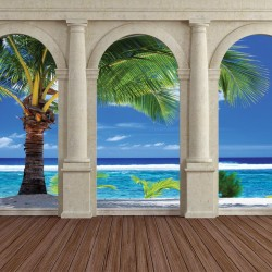 Wallpapers mural sunny view of a beautiful palm tree columns