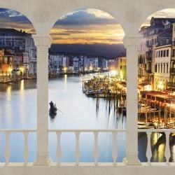 Wallpapers mural terrace overlooking ornaments night Venice