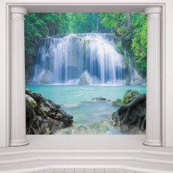 Wallpapers mural classic columns with a beautiful waterfall