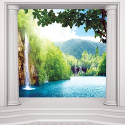 Photo mural Thailand waterfall with columns