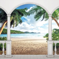 Wallpapers mural terrace view with palms