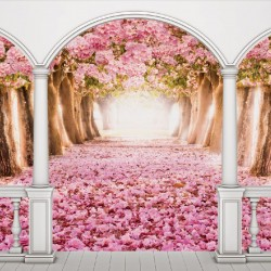 Wallpapers mural terrace view with pink trees