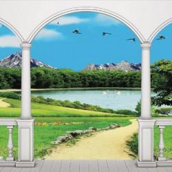 Wallpaper 3D beautiful lake view terrace