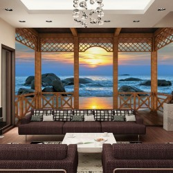 Wallpaper sea sunset with columns in 2 models