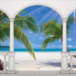 Wallpaper terrace with sunny palms