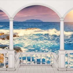 Wallpaper seashore with waves in sunset terrace view