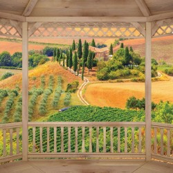 Photo mural beautiful Toscana woоdеn terrace view