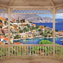 Wallpapers mural wooden terrace view the Greek island