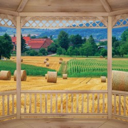 Wallpapers mural wooden terrace view of a village with crops